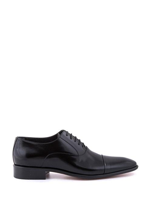 Tanca %100 Deri Bağcıklı Klasik Ayakkabı Siyah